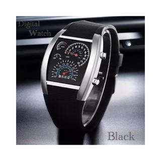 腕時計 デジタル腕時計 時計 LED スポーツ時計 ゴムベルト ブラック(腕時計(デジタル))