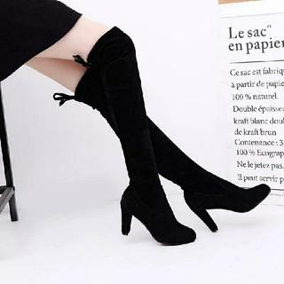 大きいサイズ25cm*LL*後ろリボン*スウェードニーハイブーツ*黒(ブーツ)