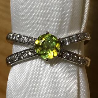✨美しい輝き✨ファイヤ✨スフェーン&ダイヤ リング 指輪 9.5号 簡易鑑別付(リング(指輪))