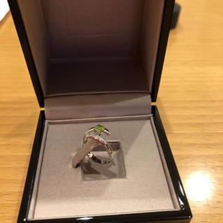 プラチナ ピンキーリング ペリドット(8月誕生石)&ダイヤモンド(リング(指輪))