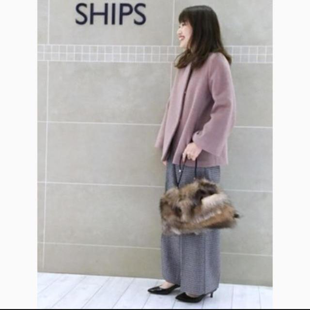 SHIPS(シップス)のSHIPS ウールアンゴラショートコート レディースのジャケット/アウター(ノーカラージャケット)の商品写真