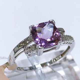 K14WG アメジスト ダイヤモンド リング(リング(指輪))