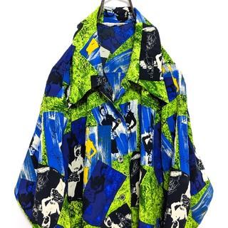 ポリシャツ 総柄 柄シャツ ガラシャツ 90's 開襟 レトロ 昭和 長袖(シャツ/ブラウス(長袖/七分))