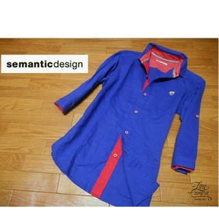 セマンティックデザイン(semantic design)のメンズM ◇semantic design◇ 7分袖 ドット柄切り替えシャツ 青(シャツ)
