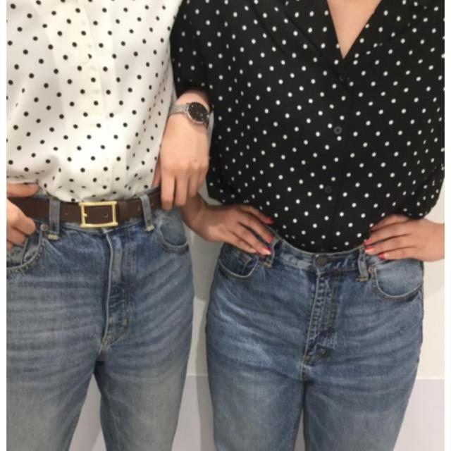 GU(ジーユー)のドットオープンカラーシャツ  レディースのトップス(シャツ/ブラウス(半袖/袖なし))の商品写真