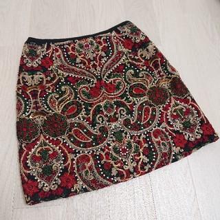 グレースコンチネンタル(GRACE CONTINENTAL)のグレースコンチネンタル Diagram ビーズ刺繍スカート(ミニスカート)