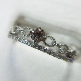 プラチナ製天然ピンクダイヤモンド0.118ct◆プラチナ製◆ソーティングあり(リング(指輪))