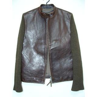 ヨウジヤマモト(Yohji Yamamoto)のY'sヨウジヤマモトホース馬皮革レザー袖ニットシングルライダースジャケット(レザージャケット)
