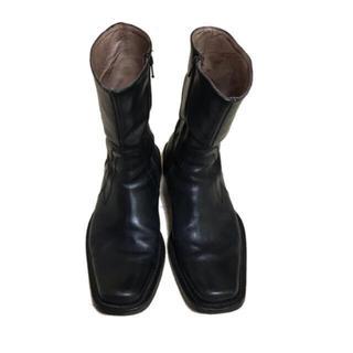 ジョンローレンスサリバン(JOHN LAWRENCE SULLIVAN)のジップアップブーツ スクエアトゥ ブラック 約27〜27.5cm(ブーツ)