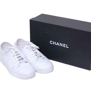 シャネル(CHANEL)のCHANEL シャネル ココ マーク ロゴ スニーカー ホワイト(スニーカー)
