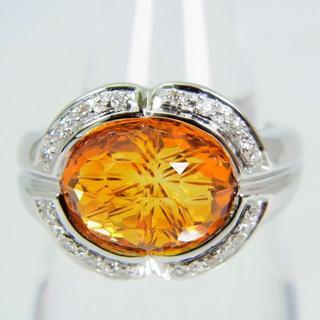 K18WG 天然シトリン ダイヤモンド リング 14号[f77-9] (リング(指輪))