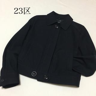ニジュウサンク(23区)の美品 23区 ショート カジュアル ブルゾン ジャケット 秋 黒 M(ブルゾン)