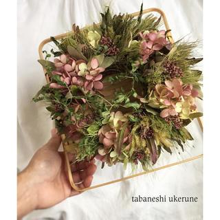 山野草フジバカマと水無月の桃色を優しく束ねたアンティーク リース ドライフラワー(ドライフラワー)