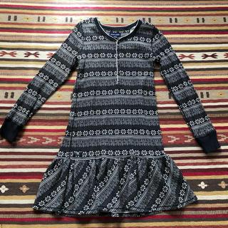 ラルフローレン(Ralph Lauren)の美品 ラルフローレン 女児 ワンピース 140cmワッフル素材 ロンT 黒 ポロ(ワンピース)