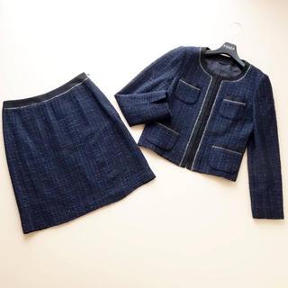 アナイ(ANAYI)の■アナイ■ 38 黒x紺x銀糸 ツイード スカートスーツ ANAYI(スーツ)