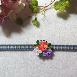 小花*帯留め  つまみ細工 くるみボタン使用②(和装小物)