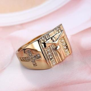 【送料無料】Gold Plated Religious Cross Ring(リング(指輪))