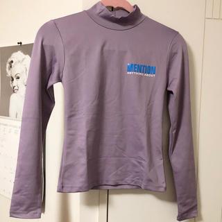 スタイルナンダ(STYLENANDA)のSTYLENANDA モックネックロゴTシャツ パープル(Tシャツ(長袖/七分))