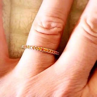 11号1点】ハーフエタニティプラチナplatedAAACZオレンジダイヤリング(リング(指輪))