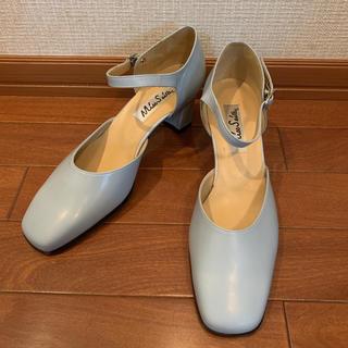 ストラップスクエアパンプス ブルー 日本製 ヴィンテージ ストラップパンプス(ハイヒール/パンプス)