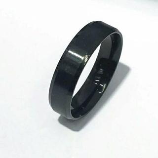 新品★送料無料★メタルブラックリング★6mm幅(リング(指輪))