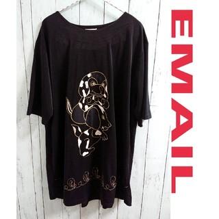 EMAIL 黒 ニット アニマル かわいい わんこ Tシャツ   ワンピース(ニット/セーター)