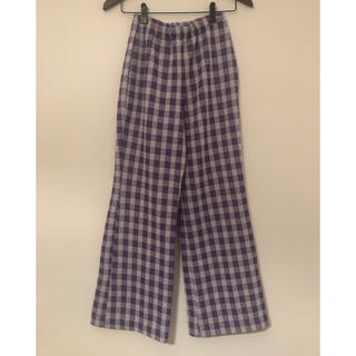 ロキエ(Lochie)のヴィンテージ  70s ギンガムチェック フレアパンツ 紫 ジャンティーク(カジュアルパンツ)