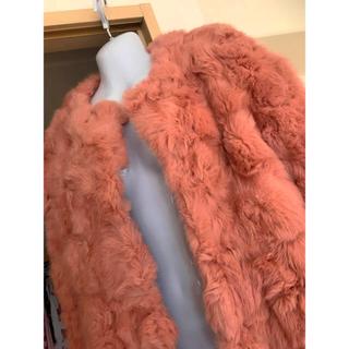 ピンクのラビットふわふわジャケットコート 大きいサイズ 新品タグ付き(毛皮/ファーコート)