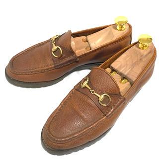 グッチ(Gucci)のGUCCI 35 ホースビットローファー ブラウン レディース ラバーソール(ローファー/革靴)