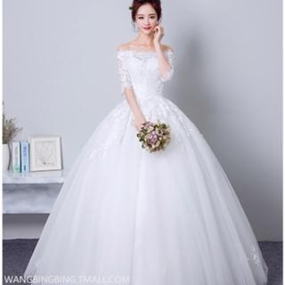 ウェディングドレス ブライダル 花嫁 主役 結婚式 引き裾 ロング(ウェディングドレス)