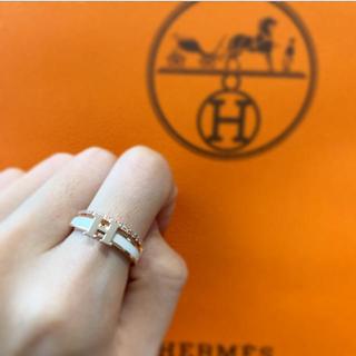エルメス(Hermes)のH モチーフ リング ホワイト ピンクゴールド(リング(指輪))