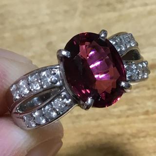 2ct超❗️美しい赤✨ルベライト&ダイヤモンド リング 簡易鑑別付 指輪 10号(リング(指輪))