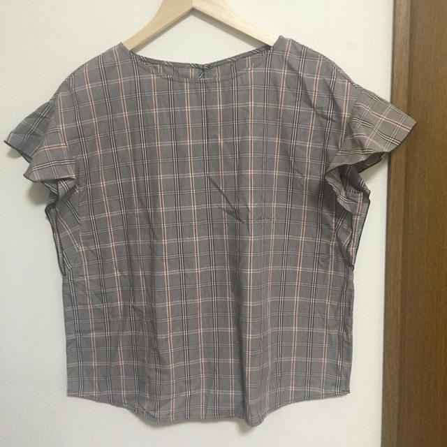 GU(ジーユー)のGU ブラウス 半袖 秋 チェック レディースのトップス(シャツ/ブラウス(半袖/袖なし))の商品写真