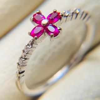 k18  ホワイトゴールド ルビー ダイヤモンド フラワー リング(リング(指輪))