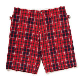 アンダーカバー(UNDERCOVER)のPEEL & LIFT tartan army shorts 赤 L(ショートパンツ)