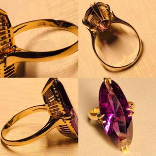 K18 美品!! 昭和レトロな千本透かしの大粒アメジストリング(リング(指輪))