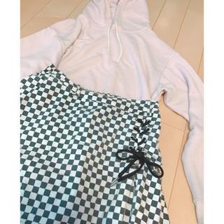 ピンクラテ(PINK-latte)のピンクラテ ブロックチェックスカート 編み上げ sサイズ 台形スカート(ミニスカート)