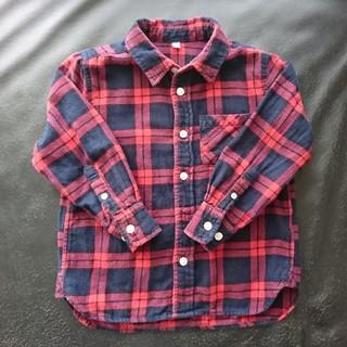 ムジルシリョウヒン(MUJI (無印良品))の無印 フランネルチェックシャツ キッズ 110(ブラウス)