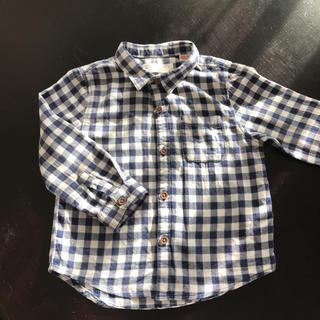 ザラ(ZARA)のZARA ブルー×白 ギンガムチェックシャツ(ブラウス)