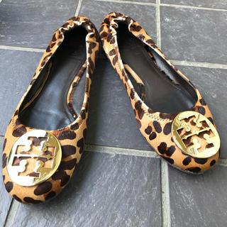 トリーバーチ(Tory Burch)のトリーバーチ ハラコ レオパード フラットシューズ(ローファー/革靴)
