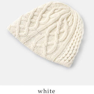ミナペルホネン(mina perhonen)の【美品】マチュアーハ ニット帽 ホワイト♡ CA4LA(ニット帽/ビーニー)