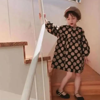 新品!120cm ドットワンピース ブラック 韓国子供服♡*(ワンピース)