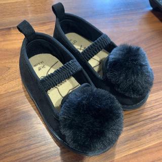 プティマイン(petit main)の未使用 ポンポンが可愛い靴(フラットシューズ)