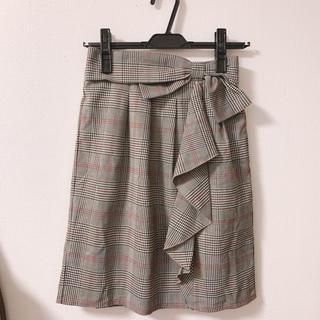 シマムラ(しまむら)のフリルリボンチェックスカート(ひざ丈スカート)