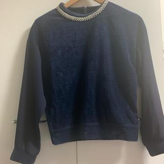 ココディール(COCO DEAL)のCOCO DEAL ビジュー付き紺色トップス(カットソー(長袖/七分))