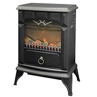 ◆山善◆暖炉型ヒーター 疑似炎 照度調整機能付き YDH-SK10(B)(電気ヒーター)