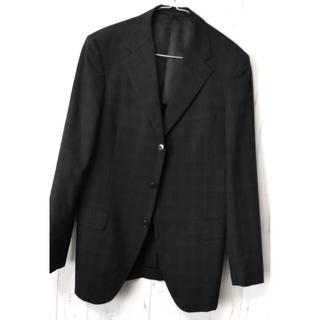 コムサメン(COMME CA MEN)のコムサ ジャケット L 美品 ブラック格子柄 秋冬春(テーラードジャケット)