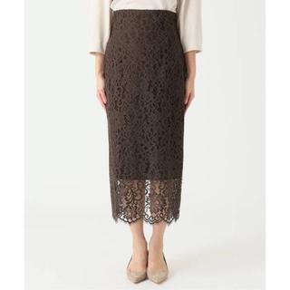 ノーブル(Noble)のNoble リバーレース  Iライン スカート 36  ブラウン(ロングスカート)