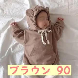 即納♡くま耳ロンパース♡ブラウン90♡新品♡くすみカラー♡ベビー(ロンパース)