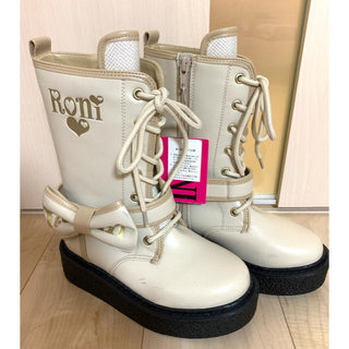 ロニィ(RONI)の新品未使用 タグ付き RONIロニィ リボン付き ブーツ 21センチ(ブーツ)